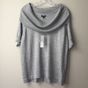 Apt.9 Short Sleeve Cowl Neck Gray/Silver 0X - NWT